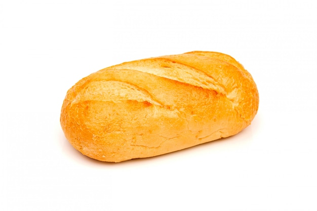 Loaf of rye bread or baguette on white space