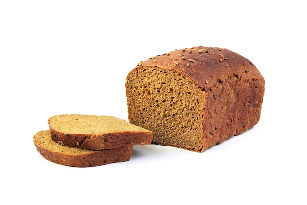 Loaf of rye bread with slices