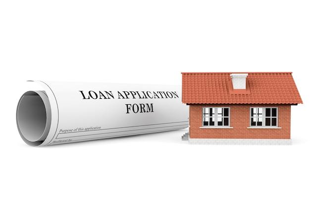 흰색 배경에 집이 있는 대출 신청서