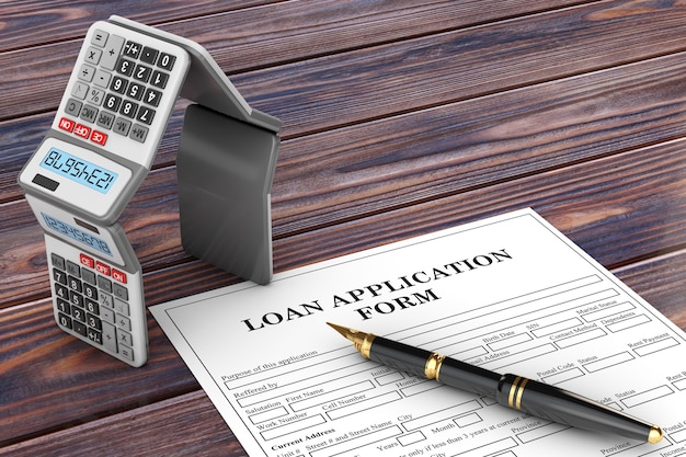 Loan application form with mortgage calculators in the shape of a house and pen on a wooden table. 3d rendering