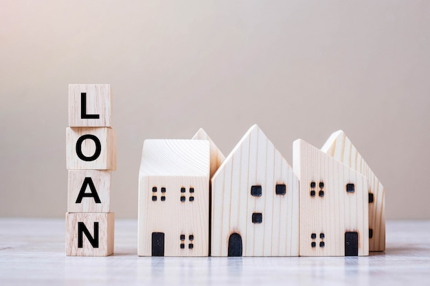 Loan cube blocks with wooden house model