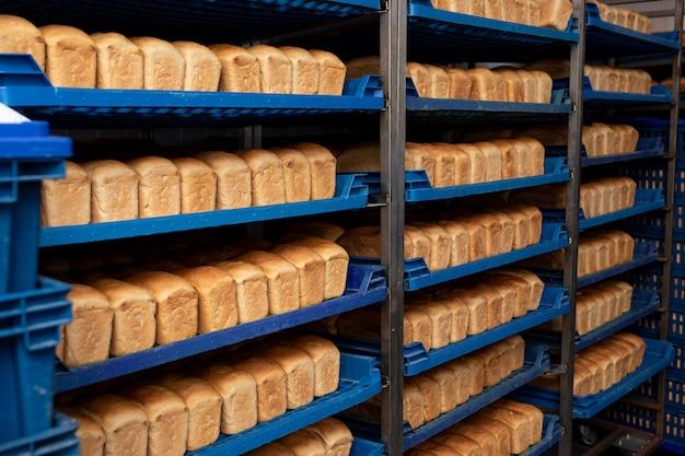 Буханки хлеба на синих пластиковых подносах. крупный план. свежий хлеб
