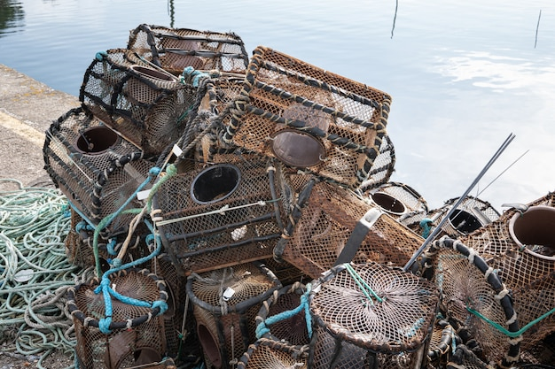 Lobster and crab pots on a dock