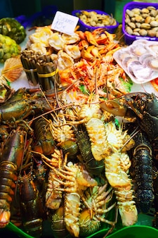 Lobster and other sea food on spanish market