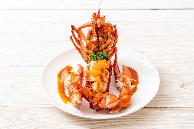 Lobster tail steak with sauce