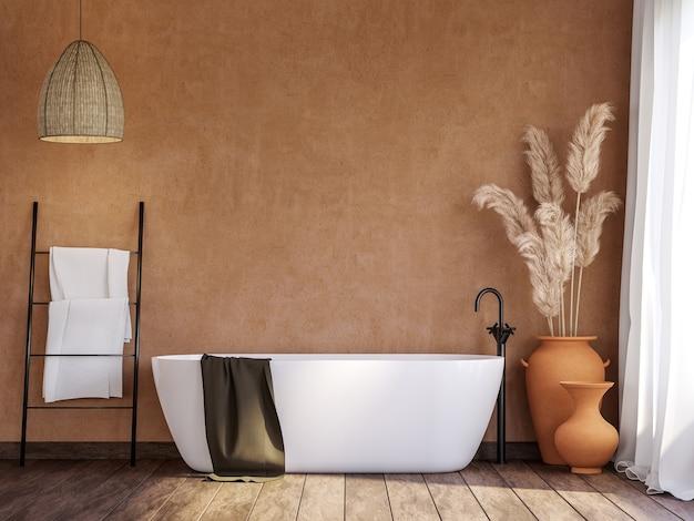 空白のオレンジ色の壁と白いバスタブ付きのローカルバスルーム