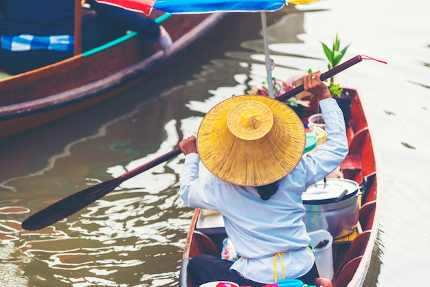 Local boat in amphawa floating market