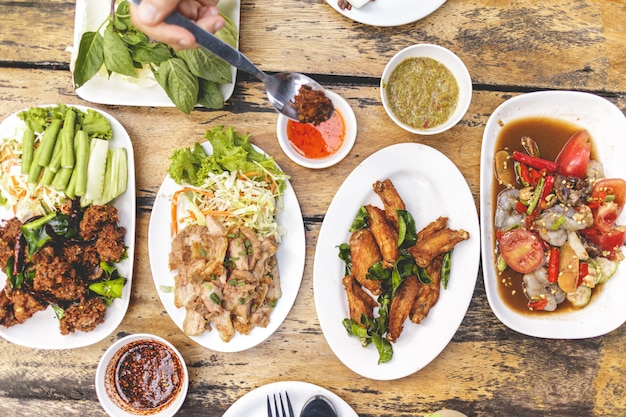 Local isan food set or thai northeastern food meal.