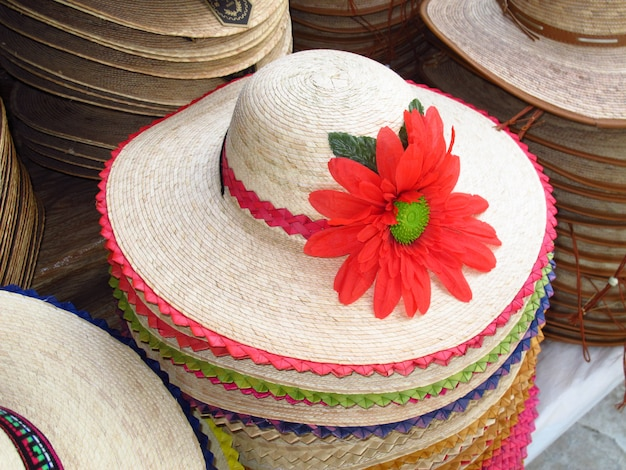 The local market of hats in mexico country