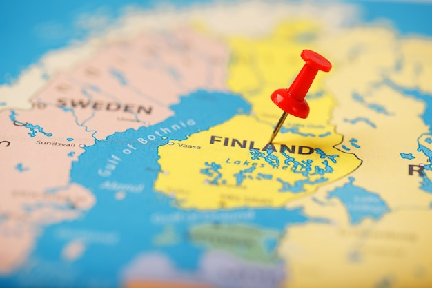 The location of the destination on the map of finland is indicated by a red pushpin