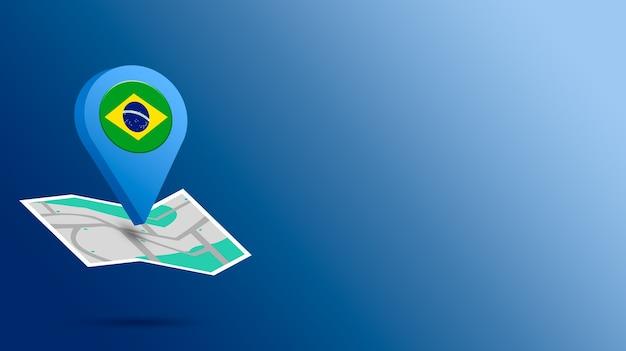 地図上のブラジルの旗とロケーションアイコン3dレンダリング