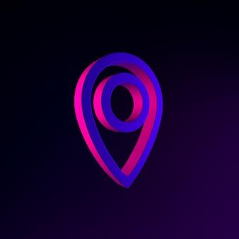 場所ネオンシンボル線形アウトラインアイコン。 3dレンダリングuiuxインターフェイス要素。暗く光るシンボル。