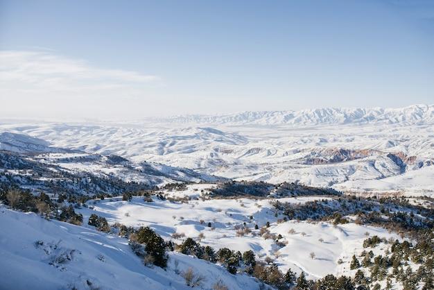 ウズベキスタンの天山山脈の場所。