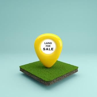 Значок местоположения булавки на земле в концепции продажи недвижимости или инвестиций в недвижимость