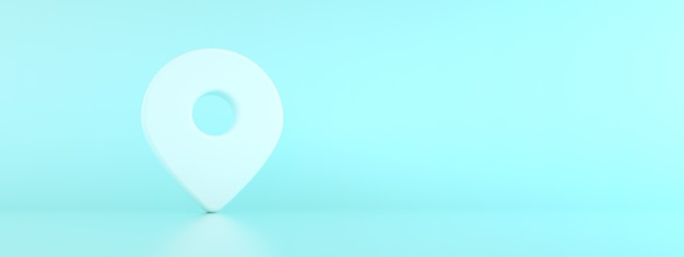 青い背景、ナビゲーションシンボル、パノラマモックアップ画像上の場所ピンマップ3dレンダリング