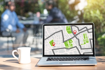 Location Street Map with GPS Icons  Naviga