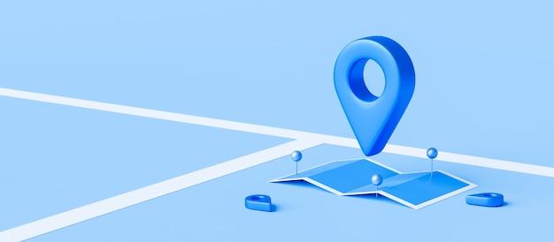 Метка локатора карты и булавки местоположения или значок навигации подписывают на синем фоне с концепцией поиска.