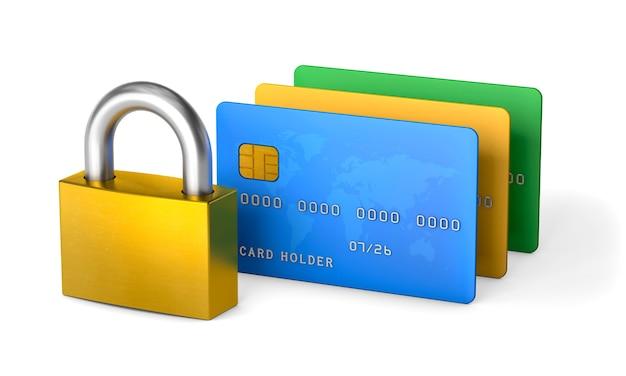 ロックとクレジットカード白で隔離された個人データと電子マネーの保護