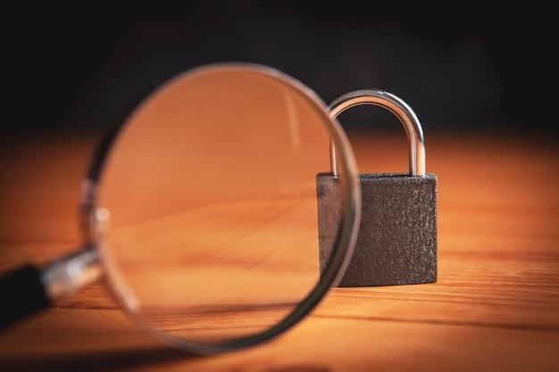 ロックと虫眼鏡検索のロック解除