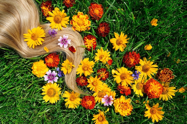 A lock of blond hair among the flowers on the green grass hair health concept natural ingredient cos...