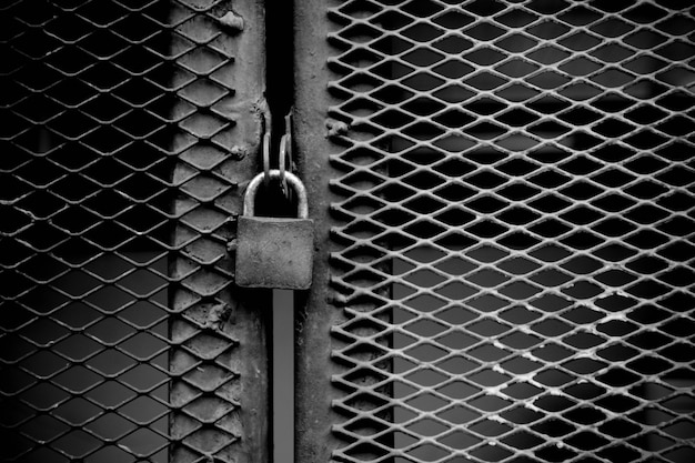 Lock at cage metal wire - monochrome background