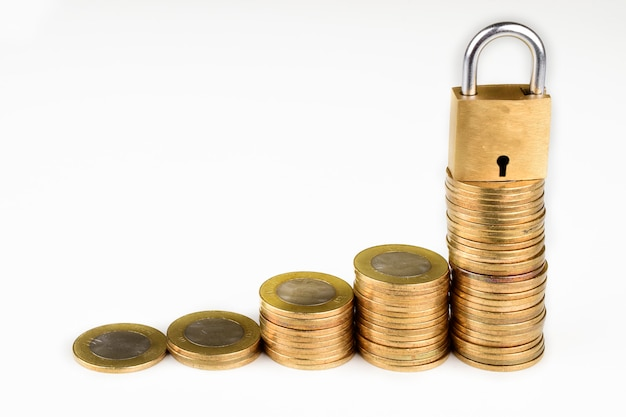 Lock and coins isolated on a white background