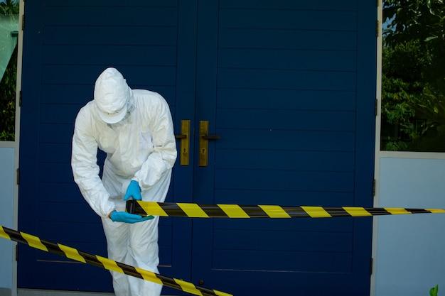 コロナウイルスを他の人から隔離して保護するためにエリアをロックダウンします。