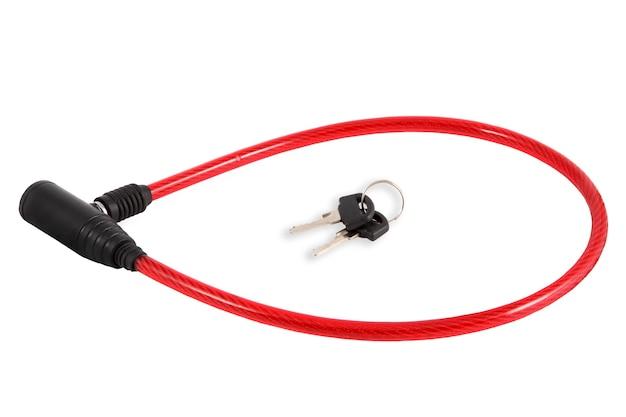自転車やオートバイ用のロック、赤いプラスチックのスチールケーブル。