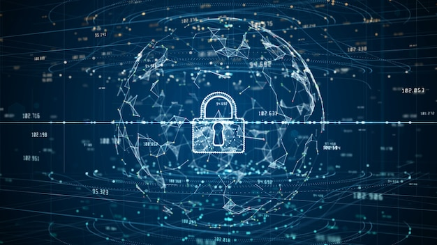 Lock icon of cyber security digital data, digital data network protection