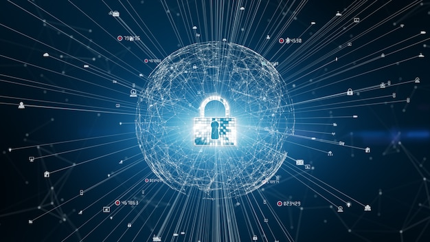 Lock icon cyber security, digital data network protection, future technology network background concept.