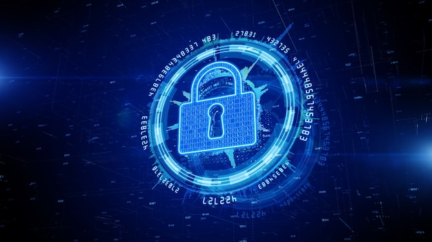 Lock icon cyber security of digital data network protection.