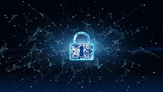 Значок замка. кибербезопасность защиты цифровых сетей передачи данных. высокоскоростной анализ данных подключения