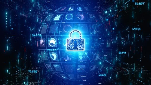 粒子の流れ、デジタルデータネットワーク保護、将来の技術ネットワークの概念とアイコンサイバーセキュリティをロックします。