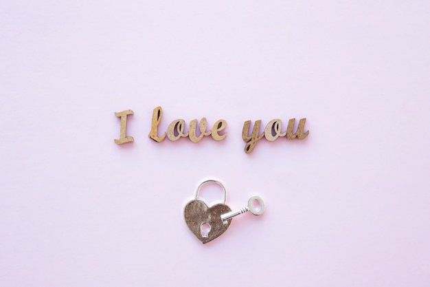 Lock and key near i love you writing