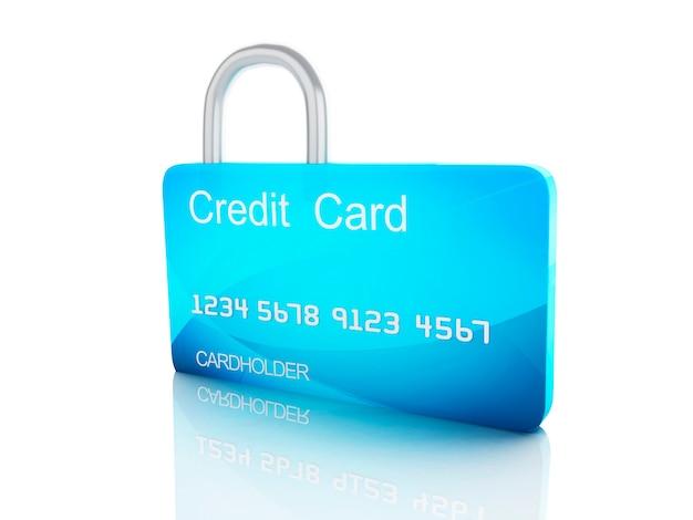 クレジットカードとlock.safe銀行のコンセプトは、白い背景に