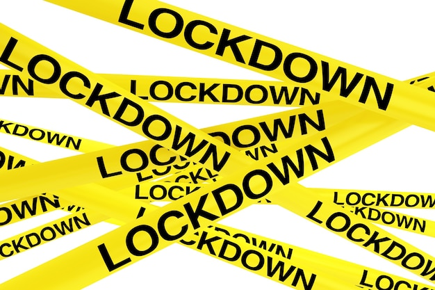Lockdown quarantine zone yellow tape strips on a white background. 3d rendering