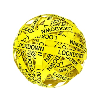 Lockdown yellow tape strips in shape of ball or sphere on a white background. 3d rendering