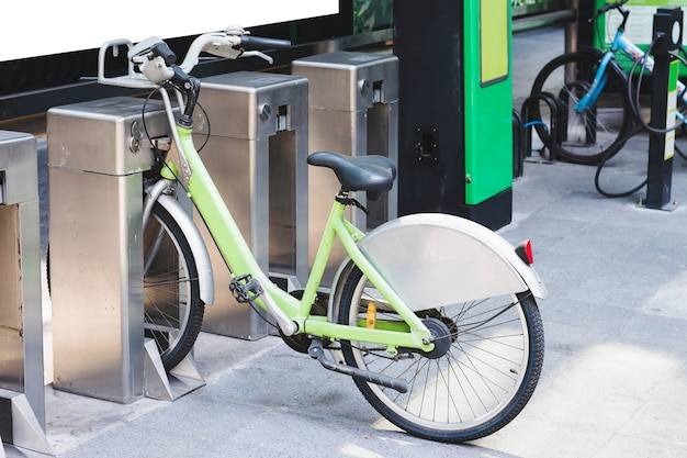 Locked bicycle at bicycle parking