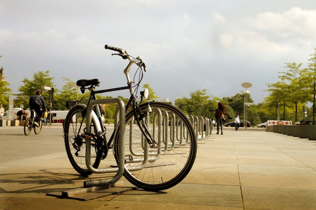 Locked bicycle in the city