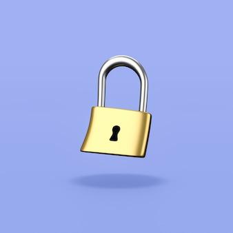 파란색 배경에 잠긴 금속 자물쇠