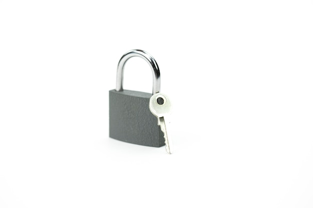 Locked padlock and key - symbol of security, personal data protection