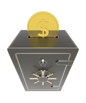 3d 렌더링이 삽입된 돈 동전으로 잠긴 금고