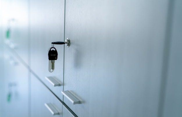 Locker with key in office room filing cabinet lock with key for safety and security system