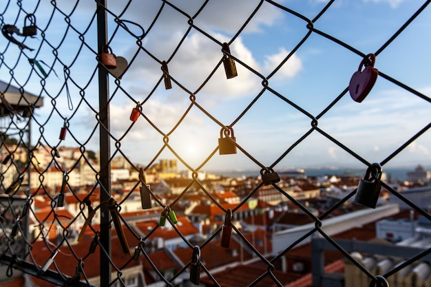 Locks on the cage, old city