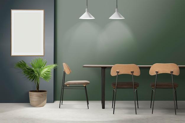 Аутентичный дизайн интерьера столовой в стиле лофт с пустой рамкой для фотографий
