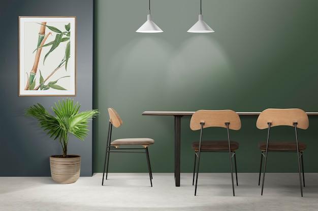 Аутентичный дизайн интерьера столовой в стиле лофт с рамкой для фотографий
