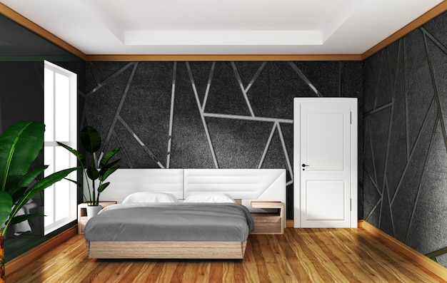 Loft bedroom interior with moulding gray concrete background, minimal designs.