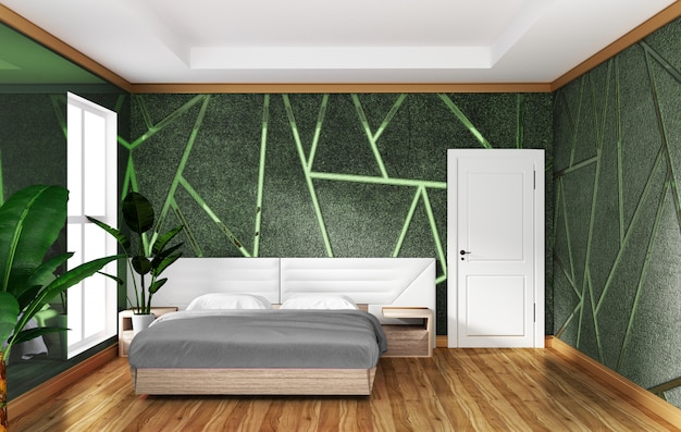 Loft bedroom interior with moulding green concrete background