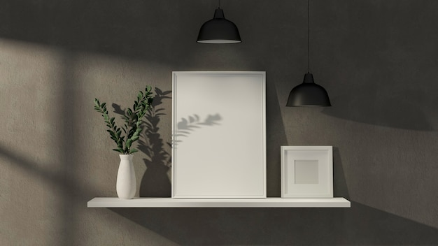モックアップフォトフレーム植物の花瓶とランプが付いているロフト壁のロフトインテリアホームデザイン白い棚