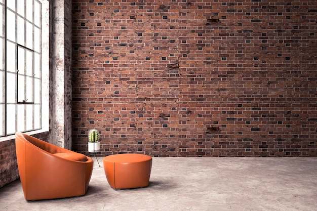 Loft interior with brick wall and armchair, pot with cactus in the background. 3d rendering